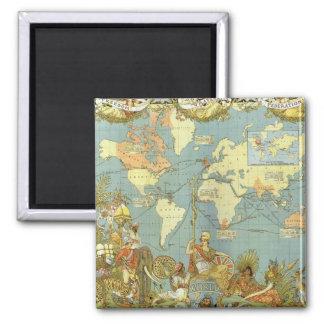 Mapa del mundo antiguo, Imperio británico, 1886 Imán Cuadrado