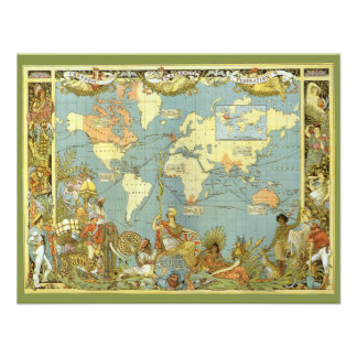 Mapa del mundo antiguo Imperio británico 1886 Comunicados