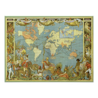 Mapa del mundo antiguo Imperio británico 1886