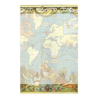 Mapa del mundo antiguo, Imperio británico, 1886 Papelería