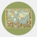 Mapa del mundo antiguo, Imperio británico, 1886 Pegatina