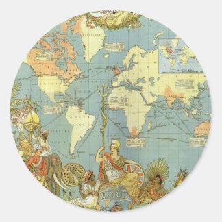 Mapa del mundo antiguo, Imperio británico, 1886 Pegatina Redonda
