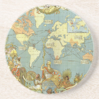 Mapa del mundo antiguo Imperio británico 1886 Posavasos Manualidades