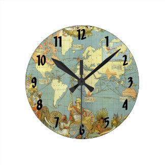Mapa del mundo antiguo, Imperio británico, 1886 Reloj Redondo Mediano