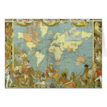 Mapa del mundo antiguo, Imperio británico, 1886 Tarjetón