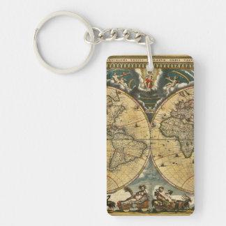 Mapa del mundo antiguo J. Blaeu 1664 Llavero Rectangular Acrílico A Doble Cara