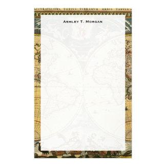 Mapa del mundo antiguo J. Blaeu 1664 Papelería Personalizada