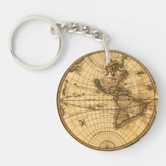 Mapa del mundo antiguo llavero redondo acrílico a doble cara