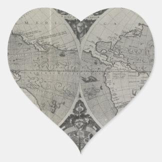 Mapa del mundo antiguo - mapas viejos de Asia Pegatina En Forma De Corazón