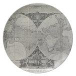 Mapa del mundo antiguo - mapas viejos de Asia Plato Para Fiesta