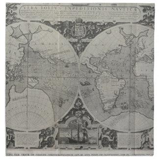 Mapa del mundo antiguo - mapas viejos de Asia Servilleta