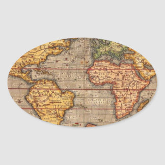 Mapa del mundo antiguo pegatina ovalada