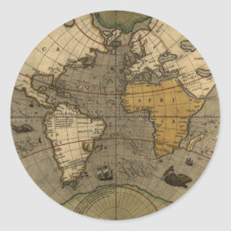 Mapa del mundo antiguo pegatina redonda