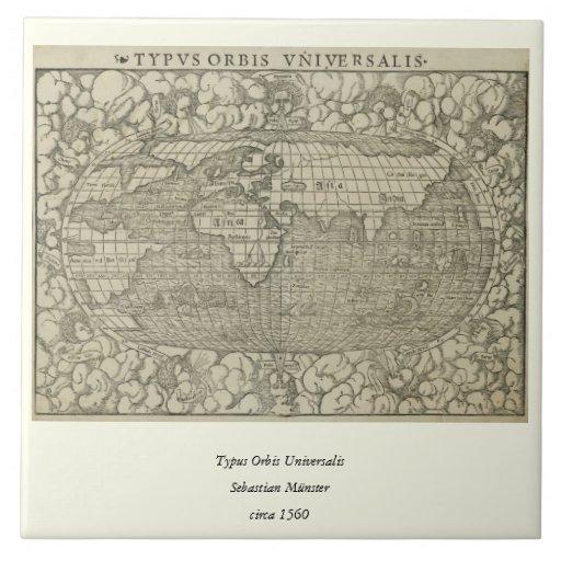 Mapa del mundo antiguo por Sebastian Münster circa Azulejo Cuadrado Grande