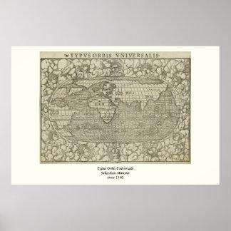 Mapa del mundo antiguo por Sebastian Münster circa Poster