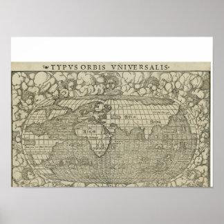 Mapa del mundo antiguo por Sebastian Münster circa Impresiones