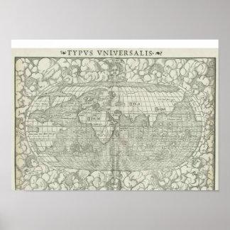 Mapa del mundo antiguo por Sebastian Münster circa Posters