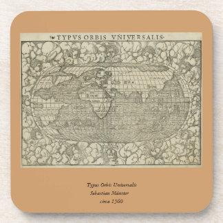 Mapa del mundo antiguo por Sebastian Münster circa Posavasos De Bebida