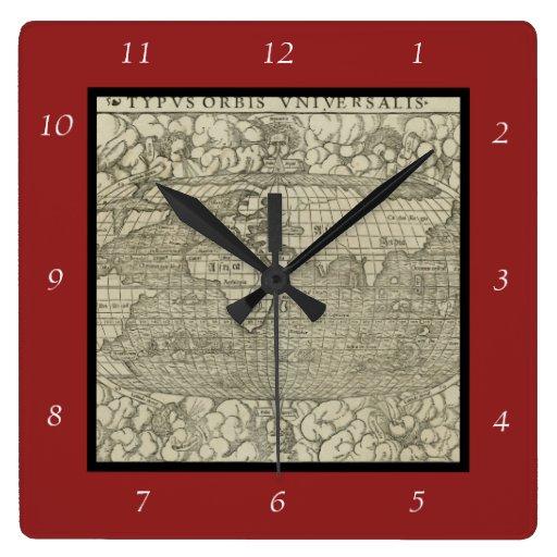Mapa del mundo antiguo por Sebastian Münster circa Reloj Cuadrado