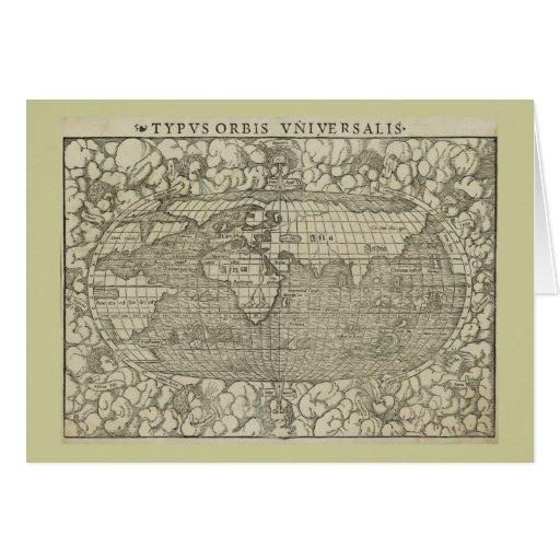 Mapa del mundo antiguo por Sebastian Münster circa Tarjeton