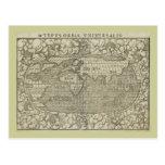 Mapa del mundo antiguo por Sebastian Münster circa Tarjeta Postal