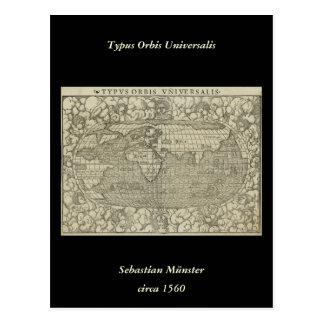 Mapa del mundo antiguo por Sebastian Münster circa Postal
