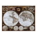 Mapa del mundo antiguo postales