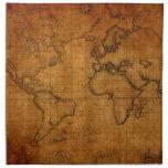 Mapa del mundo antiguo servilleta imprimida
