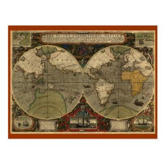 Mapa del mundo antiguo tarjeta postal