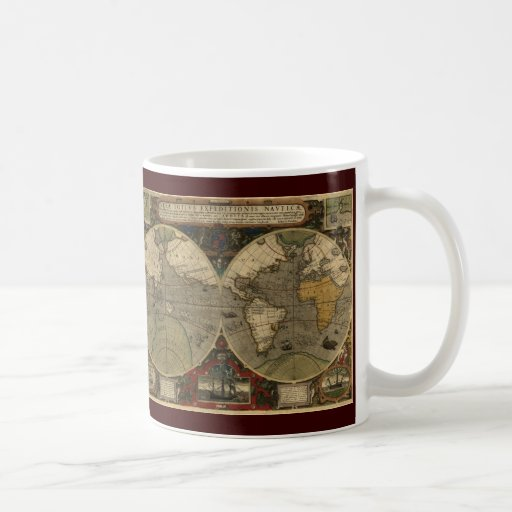 Mapa del mundo antiguo taza básica blanca