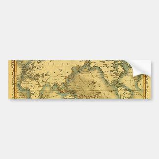 Mapa del mundo antiguo viejo pegatina de parachoque