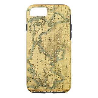 Mapa del mundo antiguo viejo funda iPhone 7