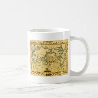 Mapa del mundo antiguo viejo taza de café