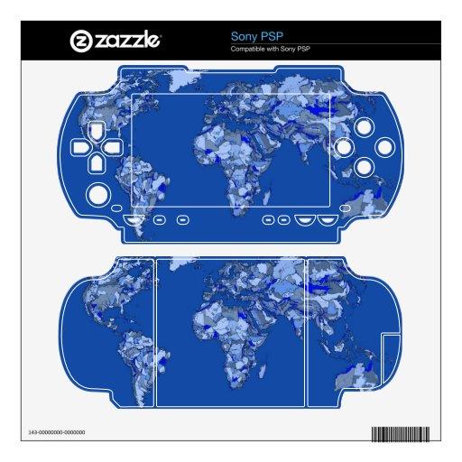 Mapa del mundo azul calcomanías para PSP