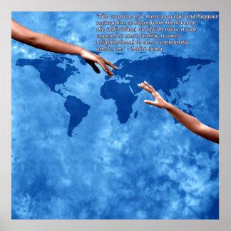 Mapa del mundo azul con el texto de Dalai Lama Impresiones