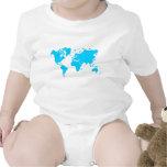 Mapa del mundo - azul de cielo camisetas