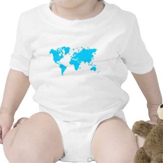 Mapa del mundo - azul de cielo traje de bebé