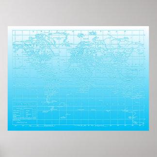 Mapa del mundo azul de Ombre Póster