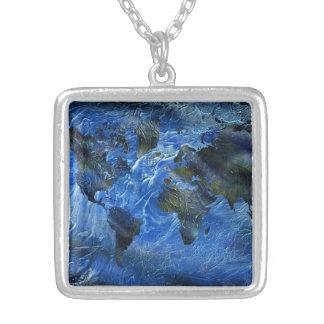 Mapa del mundo azul de Swirly Arylic Pendientes Personalizados