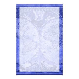 Mapa del mundo azul J Blaeu 1664 de la antigüedad Papelería