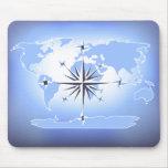 Mapa del mundo azul Mousepad del rosa de compás Tapete De Raton