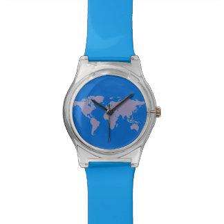mapa del mundo azul simple relojes de pulsera
