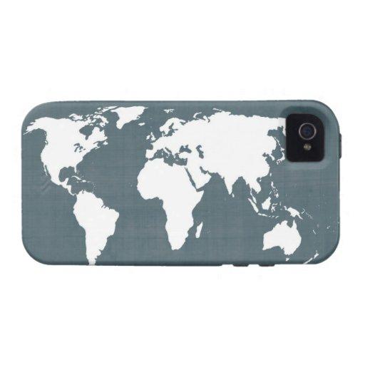 Mapa del mundo. azul y blanco iPhone 4 carcasa