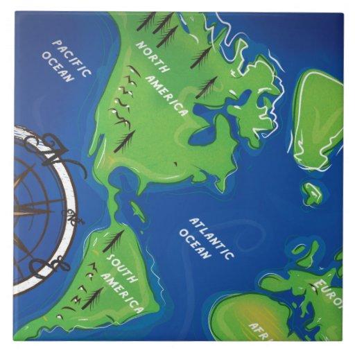 Mapa del mundo azulejo cuadrado grande