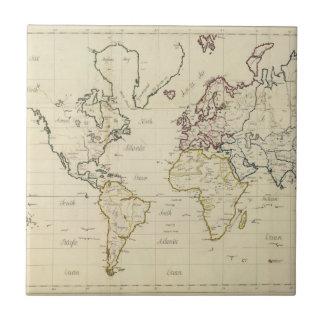 Mapa del mundo azulejo cuadrado pequeño