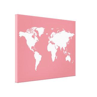 mapa del mundo blanco en rosa lona envuelta para galerias