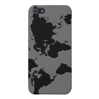 mapa del mundo blanco y negro iPhone 5 cárcasas