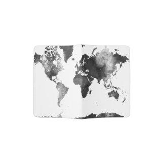 MAPA DEL MUNDO blanco y negro Porta Pasaporte