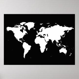mapa del mundo blanco y negro póster