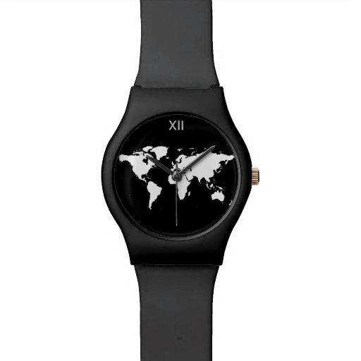 mapa del mundo blanco y negro relojes
